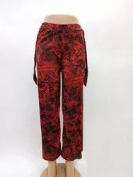 Polyester Floral Printed Ladies Knot Pant, 100GSM