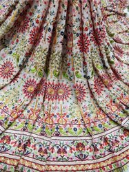 Printed Machine Embroidered Silk Fabric
