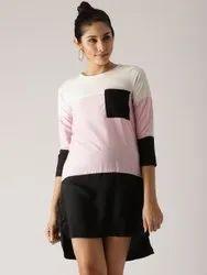 Cotton Plain Ladies Designer One Piece Dress