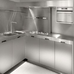 Modern Stainless Steel Modular Kitchen, Work Provided: Wood Work & Furniture