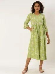 Jaipur Kurti Green Printed Cotton Flared Dress