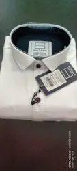 Spitzer Collar Neck Men's White Plain Cotton Shirt, Machine wash