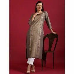 Janasya Women's Grey Rayon Kurta (JNE3556)