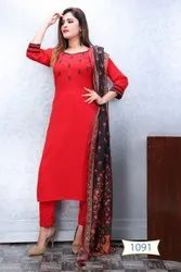 Party Wear Straight REYON EMBROIDRY WORK KURTIS, Wash Care: Dry clean