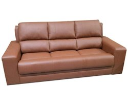 Wooden Brown 3 Seater Leather Sofa, For Home, Living Room