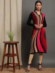 Janasya Women's Multicolor Woolen Kurta (J0314)