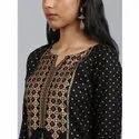 Janasya Women's Black Rayon Kurta (JNE3557)