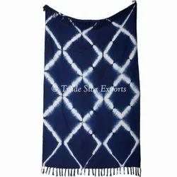 Blue 100% Cotton Home Decorative Shibori Tie Dyed Sofa Throw Blanket