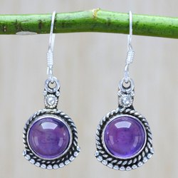 925 Sterling Silver Jewelry Amethyst Gemstone Stone Earring
