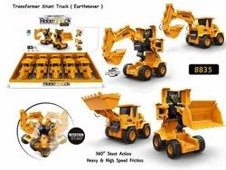 Yellow Plastic 8835 Friction 2 in 1 High Quality Transformer Stunt Road Truck