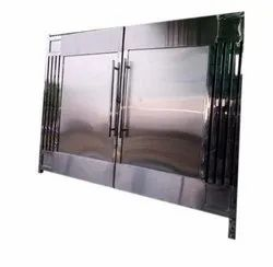Silver Stainless Steel Hinged Door, For Home