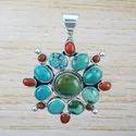 925 Sterling Silver Handmade Jewelry Turquoise Gemstone Pendant