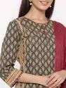 Jaipur Kurti Women Charcoal Ethnic Motif Straight Cotton Kurta With Salwar and Dupatta