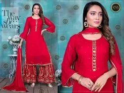 KNS Stunning Red Sharara Suit