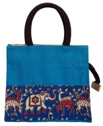 Zipper Blue Loop Handle Jute Designer Bag, For Shopping, Size: 10*12*5 Inches