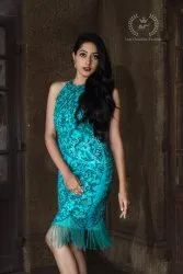 Party Wear Blue Western Dress With Hand Work Beads And Cut Dana