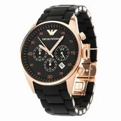 Men Round Rose Gold,black Silicone Bracelet Watch Ar5905, For Daily