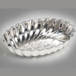 Fluted Design Oval Silver Bowl (Big)