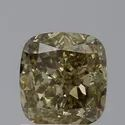 1CT Cushion Fancy Dark Brown Greenish Yellow SI2 GIA Certified