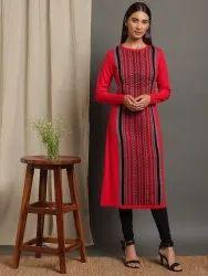 Janasya Women's Red Woolen Kurta (J0317)