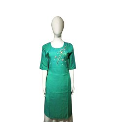 Crepe Half Sleeve Ladies Green Straight Kurti, Size: XL, Wash Care: Machine wash