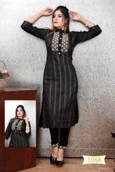 Muslin Party Wear New Embroidery Work Kurtis, Wash Care: Dry Clean