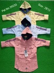 Children Shirt With Attached Cap Pattern Printed Fabric, Packaging Type: Box