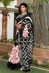 Printed Black Pure Linen Saree, 6.5 m (with blouse piece)