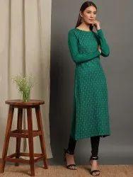 Janasya Women's Green Woolen Kurta(J0260)