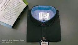 Spitzer Cotton Men's Black Plain Shirt