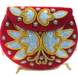 Velvet Embroidery Beaded Ethnic Purse Girls Bridal Bag Cross Body Party Metal Bag