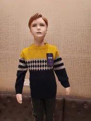RN Bajaj Mustard,Black Fancy Kids Top Sweater
