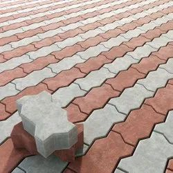 Ceramic Solid Red And Grey Zig Zag Paver Blocks, For Outdoor, Thickness: 60 mm