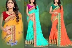 Anmazing Factory Printed Georgette Embroidery Saree, 6 M