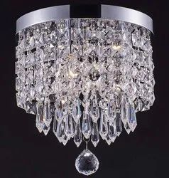 Cage Type LED Round Silver Crystal Hanging Chandelier