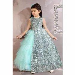 Net Blue Girls Party Wear gown, Size: 20-32