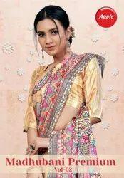 Apple Sarees Madhubani Premium Vol 2 Manipuri Silk Digital Printed Saree Catalog