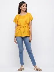 Jaipur Kurti Women Mustard Solid Straight Silk Crepe Top