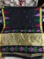 Printed Festive Wear Black Handloom Temple Work Sarees, With Blouse Piece