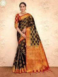 Present Banarsi Silk Saree With Rich Pallu With Desining Blouse Piece