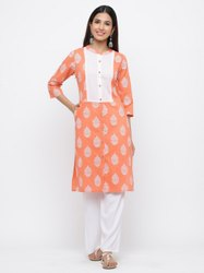 Jaipur Kurti Women Peach Ethnic Motif Straight Cotton Kurta