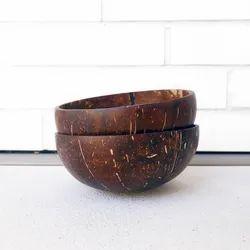 Natural Plain Coconut Shell Bowl, Size: Standard
