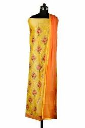 Chanderi 60 Embroidery Unstitched Dress Material, Dry clean