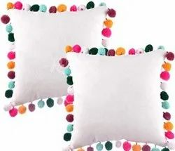 Multi Color Pom Pom Fancy Cushion Cover