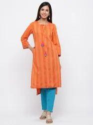 Jaipur Kurti Women Orange Self Weave Straight Viscose Rayon Kurta