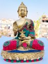 Brass Handicrafts Blassing Buddha Statue Religious God Idol Figurine Decorative Showpiece