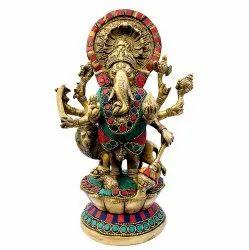 Brass Handicrafts Drashti Ganesha Statue Religious Stone Work Indian Hindu God Idol Sculpture