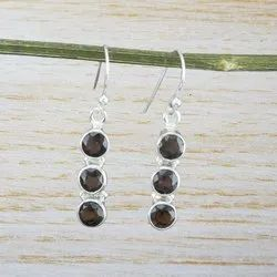 Natural Smoky Gemstone Handmade Jewelry 925 Silver Women Earring