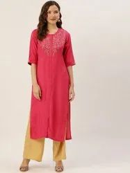 Jaipur Kurti Pink Placement Embroidered Straight Kurta With Solid Rayon Palazzo