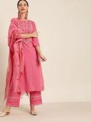 Jaipur Kurti Pink Embroidered Straight Kurta With Palazzo and Dupatta